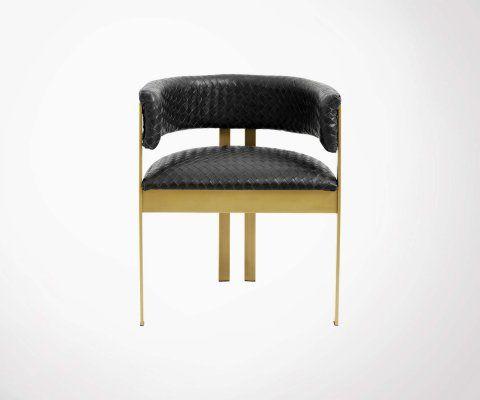 Chaise cuir métal doré ERNAM - Nordal