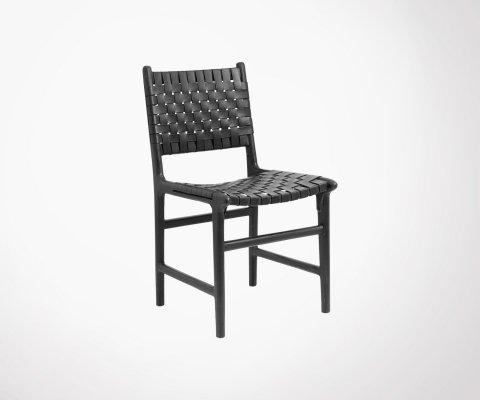 Chaise cuir tressé NOR - Nordal