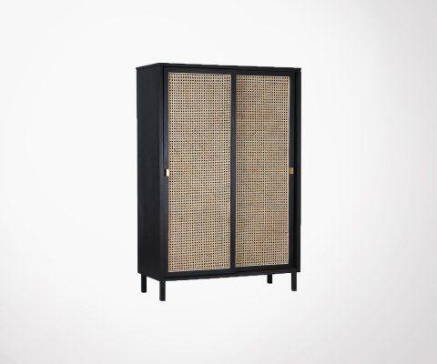Armoire portes coulissantes bois cannage SEJINA - HK Living