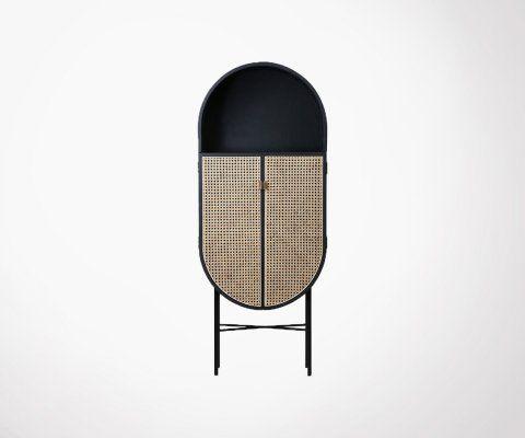 Buffet ovale style rétro porte cannage POLGA - HK Living