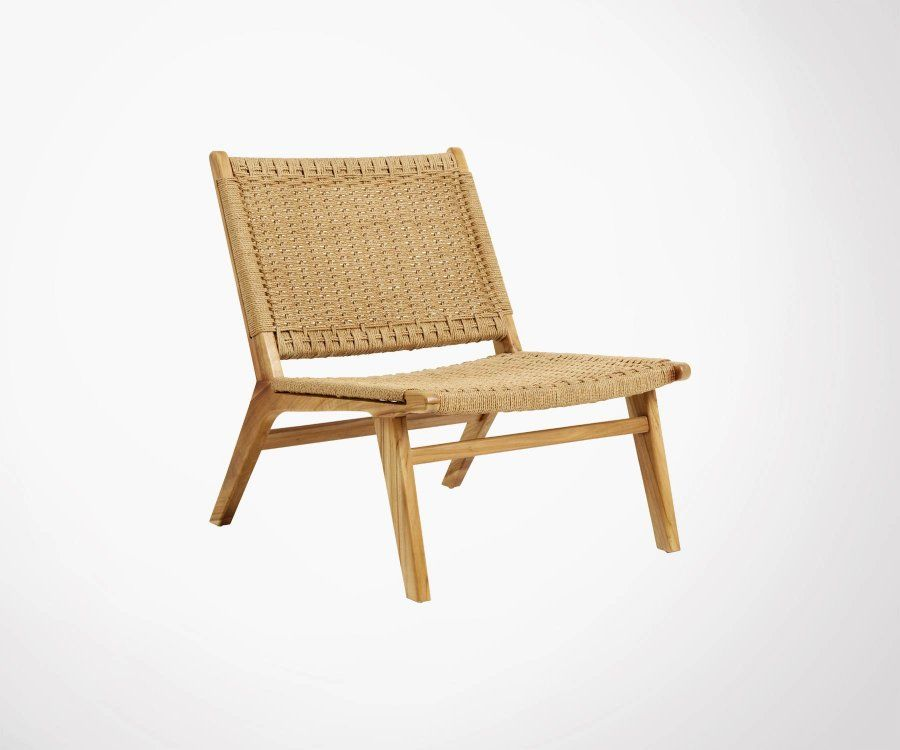 Chaise lounge teck et corde tressée CLUB - Nordal