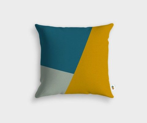Chalk + Teal + Mustard Cushion - 45x45cm