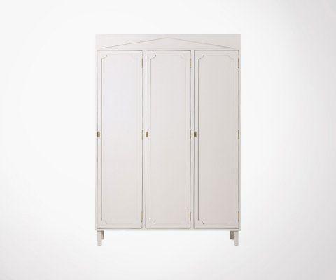 Garde-robe 160cm bois massif style grec MARZ - HK Living