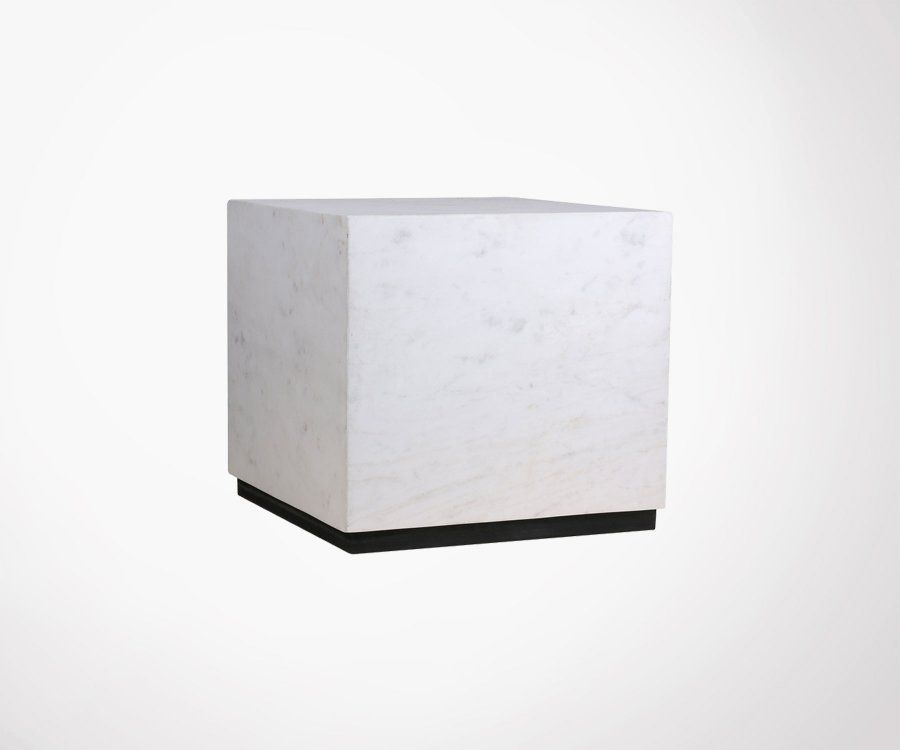 Table basse 35cm cubique marbre blanc STRUK - HK Living