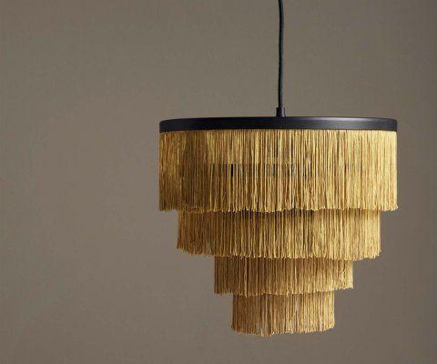 Suspension lustre franges dorées HERMA - Nordal