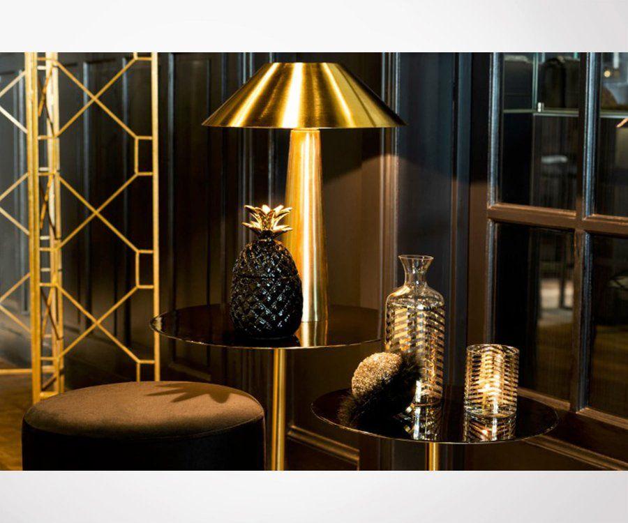 Table design métal doré et plateau laqué noir SHINE