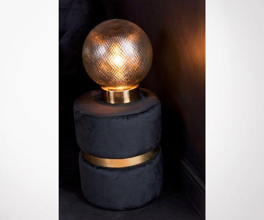 Pouf design rond velours noir et métal doré ORAK