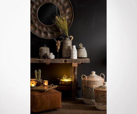 Miroir rond 92cm style ethnique en bois WEST