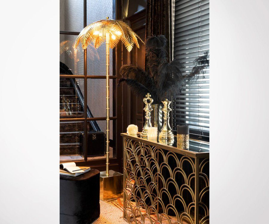 Lampadaire feuille de palmier métal doré PALMERAIE