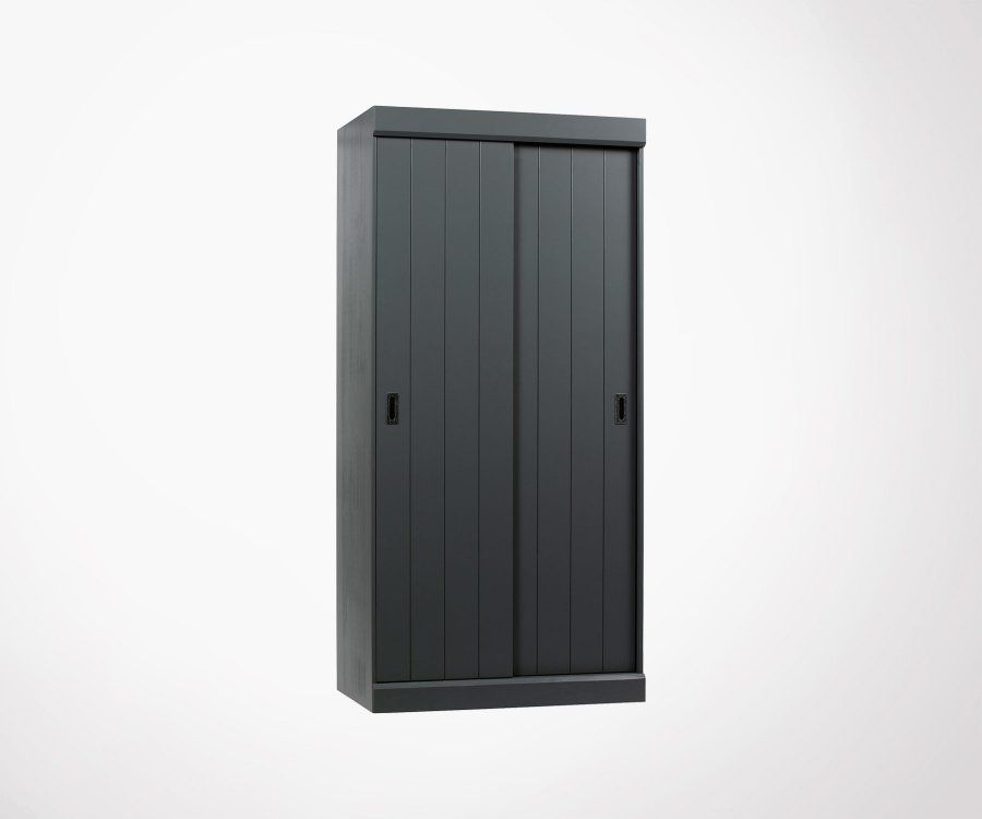 Armoire double portes coulissantes bois massif TIHO - Woood