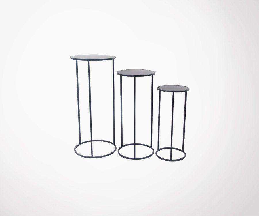 Lot de 3 tables métal rondes BOUDHA - Red Cartel