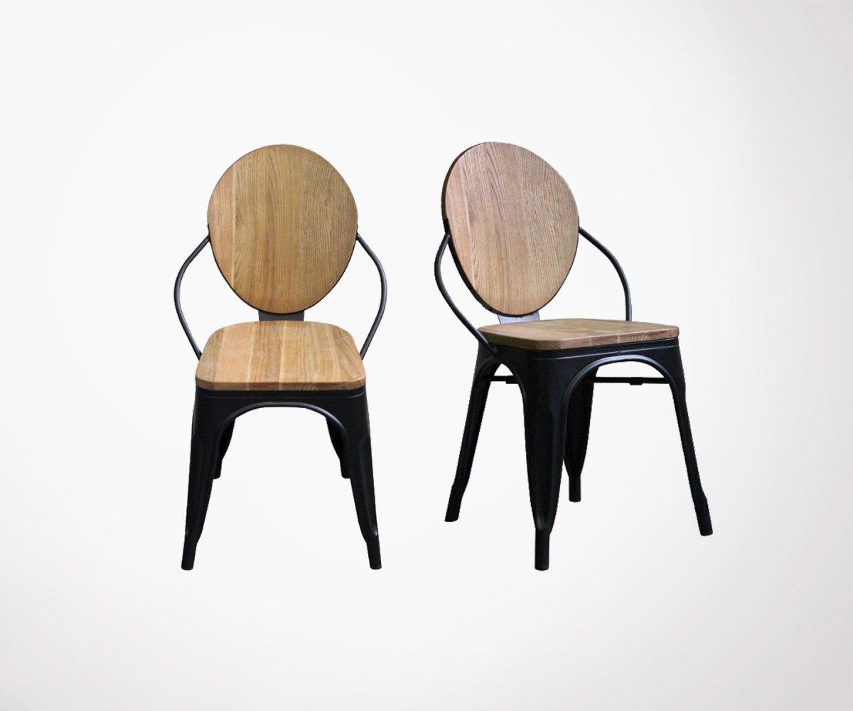 Chaise Bois Et Metal Industriel chaise design en acier et bois massif de pin style vintage