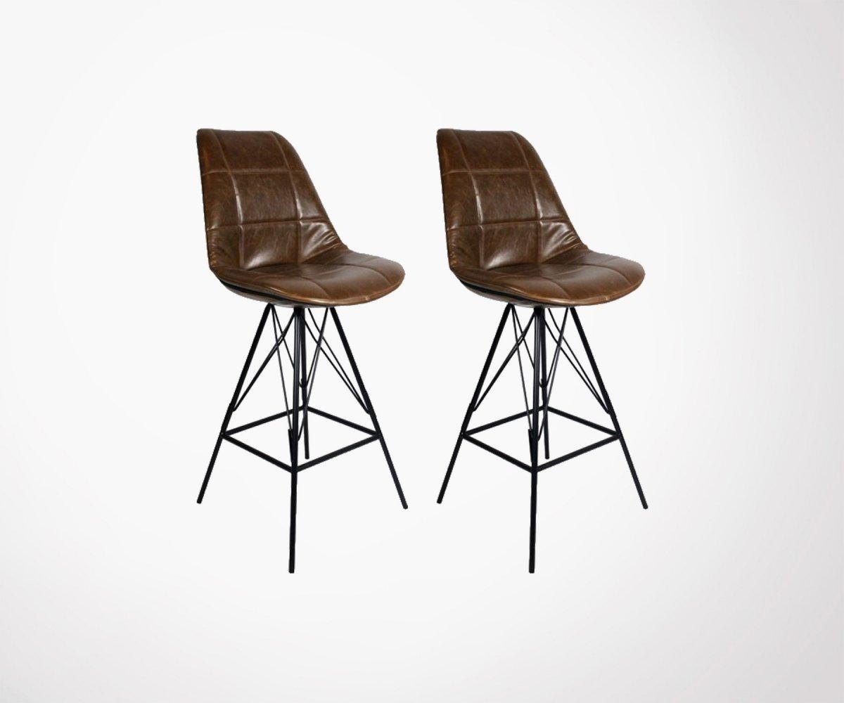 Lot 2 Chaises De Bar Aspect Cuir Style Scandinave Vintage