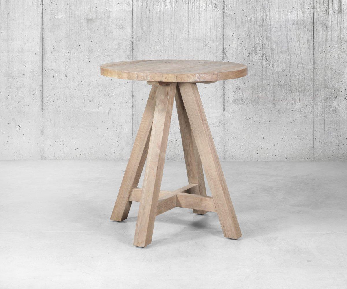 Table Haute Ronde 80cm Bois Massif Recycle Boise Meubles Et Design