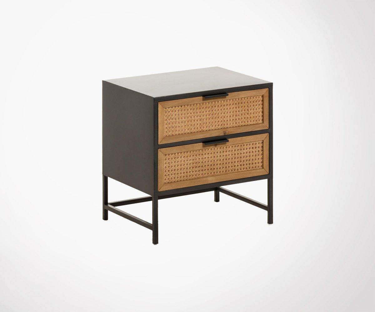 Table De Chevet Bois Cannage Et Metal Acier Noir Meubles Et Design
