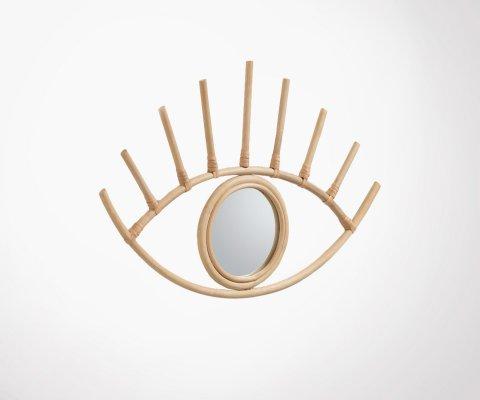 Miroir oeil en rotin naturel 36x55cm TARBEL