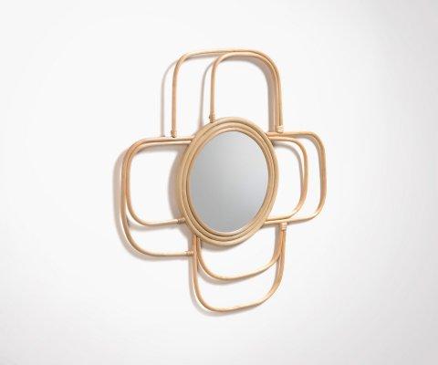 Miroir rotin 60x60cm style bohème VEQI