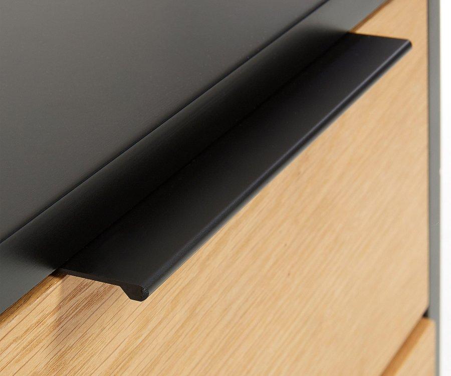 Table de chevet 2 tiroirs métal et chêne SAVOR