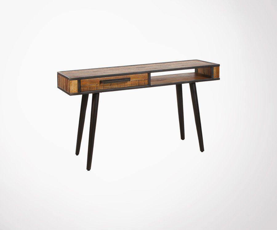 Console métal et bois style rétro VENA
