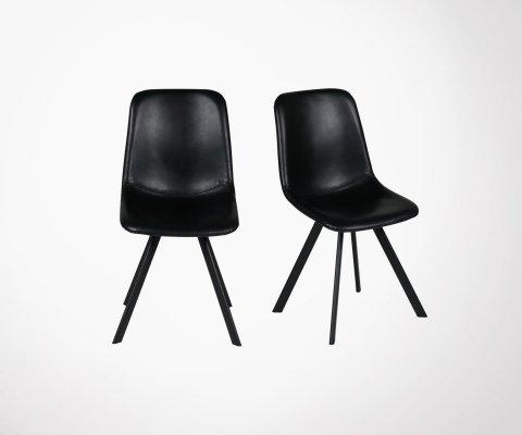 Lot de 2 chaises de salle à manger aspect cuir MARIO