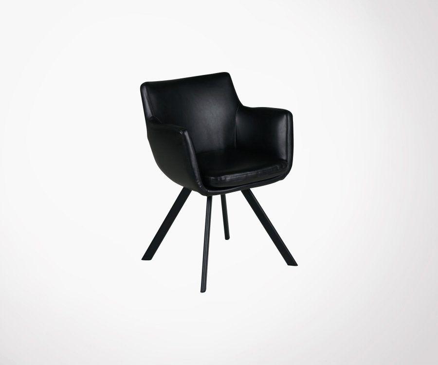 Chaise design aspect cuir avec accoudoirs MARIO