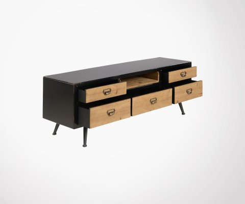 Meuble TV métal et bois avec tiroirs VEGA