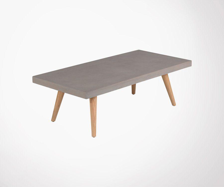 Grande Table Basse Design Rectangulaire Beton Avec Pieds Bois