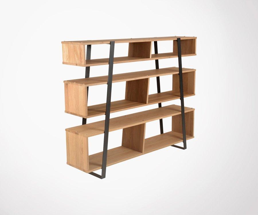 Bibliothèque chêne et acier 6 étages PIARA
