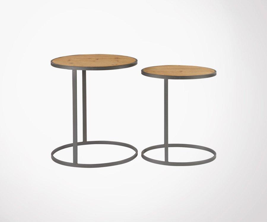 Table Gigognes Design Original Bois Metal Style Industriel