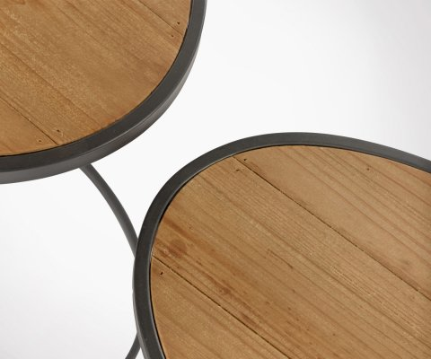 Tables gigognes rondes bois métal VANIA