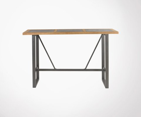 Table de bar pin massif et béton VANIA