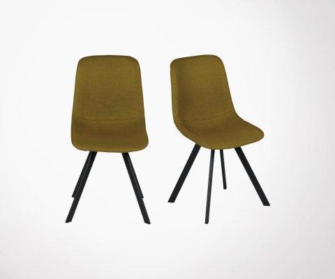 Lot de 2 chaises salle à manger tissu pieds métal MARIO