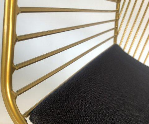 Chaise métal avec accoudoirs et coussin FERDINAND