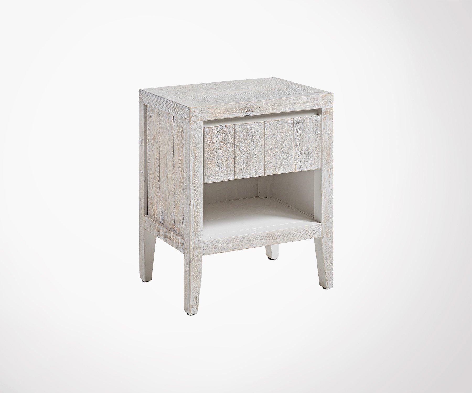 Rondin De Bois Table De Chevet table de chevet bois de pin massif avec tiroir et niche