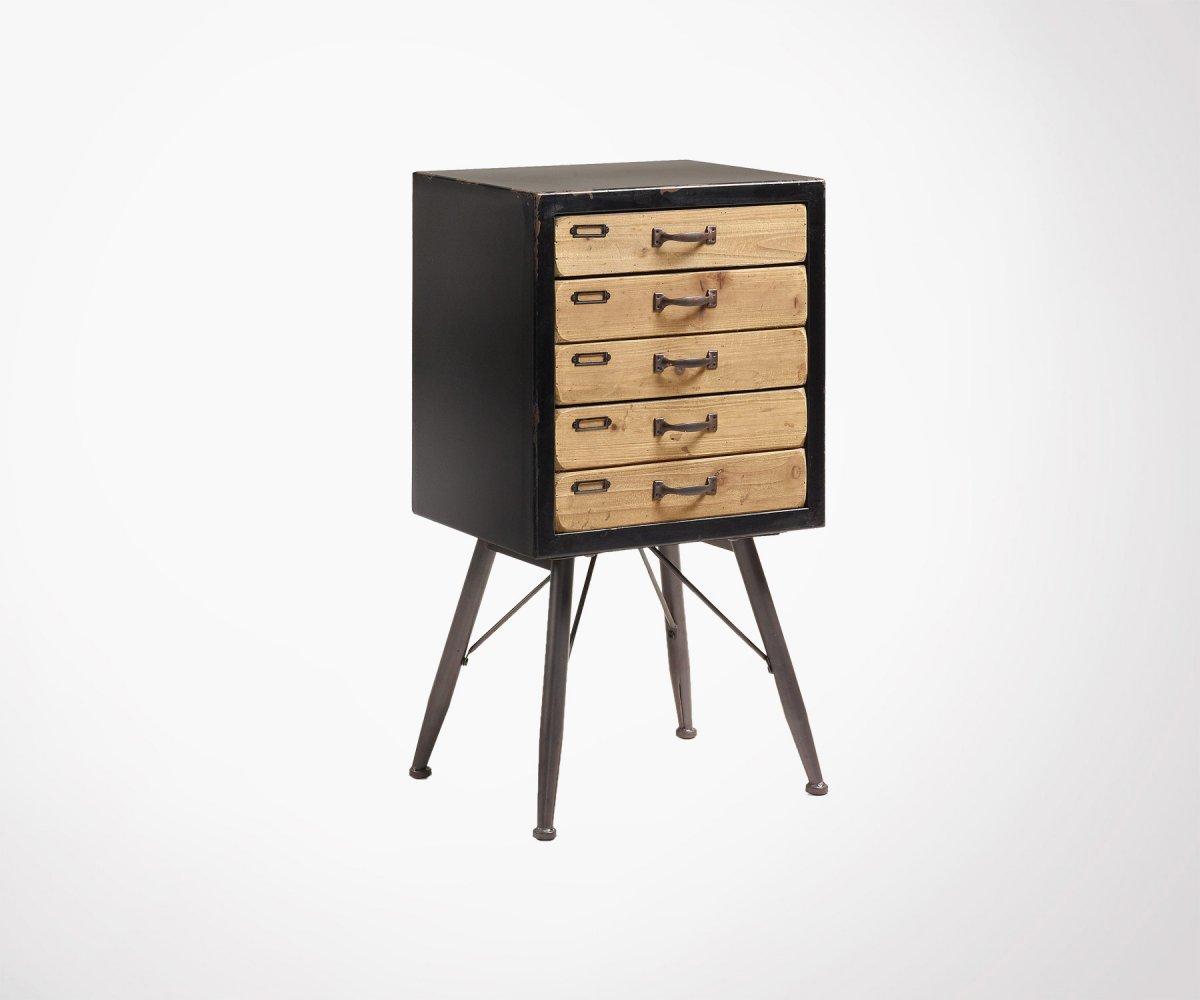 Commode Chambre Style Industriel commode design style industriel 5 tiroirs en bois et métal