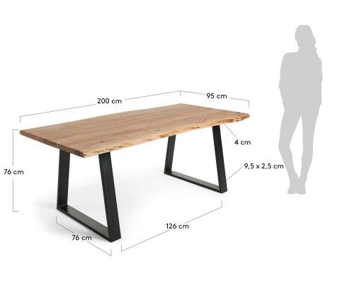 Table en bois et métal 200x95cm - ALAIA