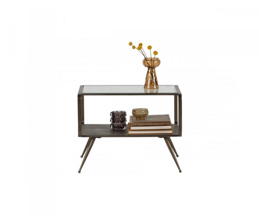 Table d'appoint rectangulaire métal et verre style antique DOUGLAS