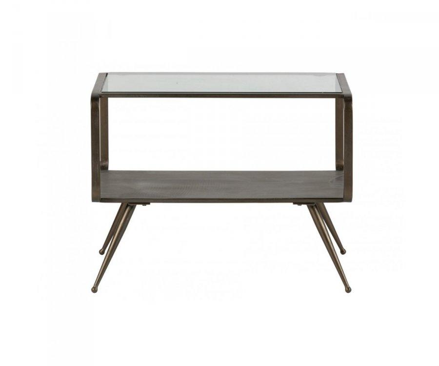Table d'appoint rectangulaire métal et verre style antique DOUGLAS - BePureHome