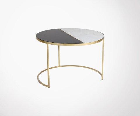 Table d'appint design ronde marbre et laiton JALA - Bloomingville