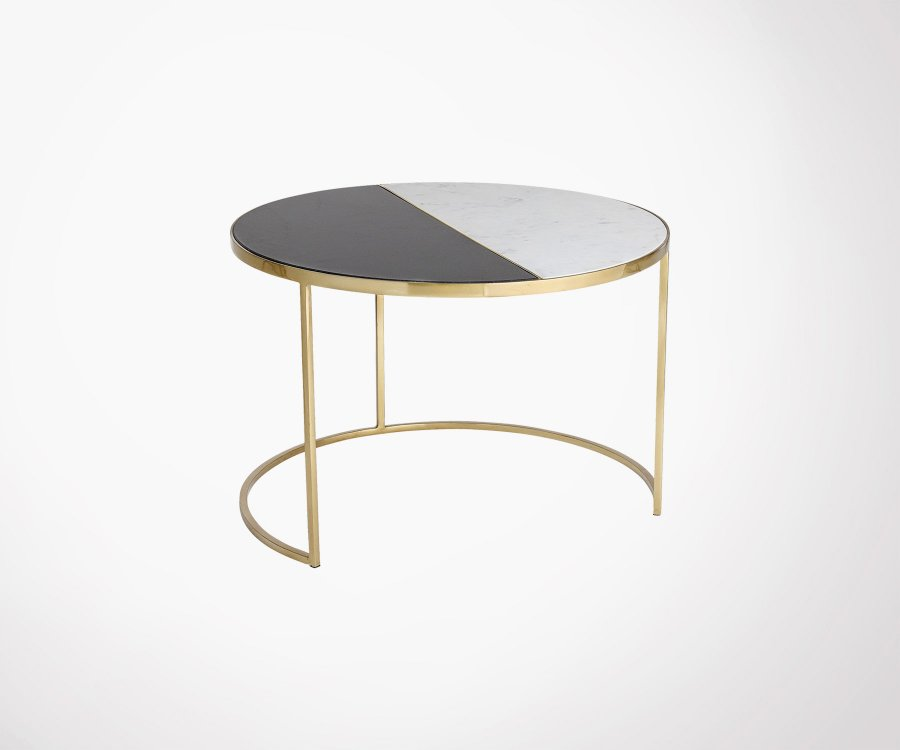 Table d'appint design ronde marbre et laiton JALA - Bloomingville