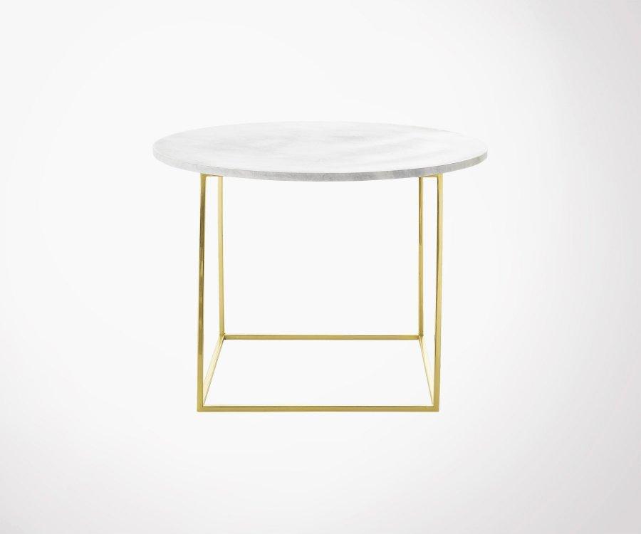 Table d'appoint ronde marbre et laiton MEL - Bloomingville