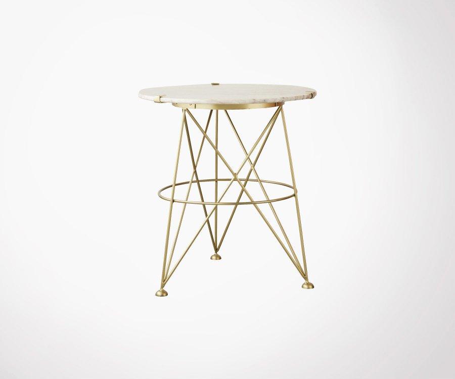 Table d'appoint art déco ronde métal et laiton TRIA - Bloomingville
