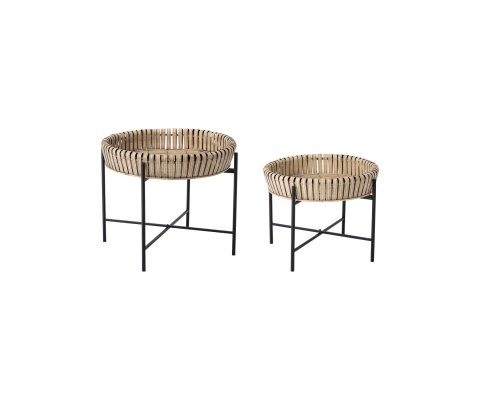 Lot de 2 tables d'appoint bambou style bohème DINA - Bloomingville
