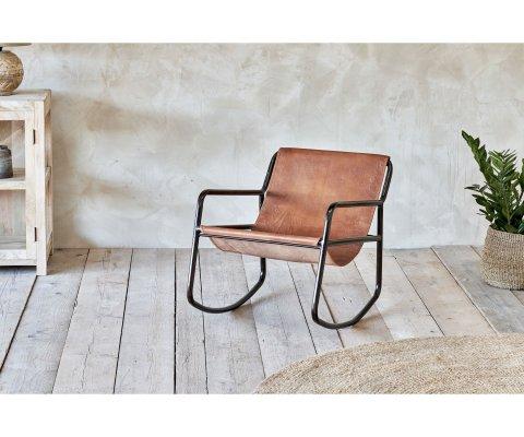 Rocking chair vintage métal et cuir - KORKI