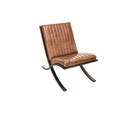 Fauteuil lounge cuir pieds métal - COBRA