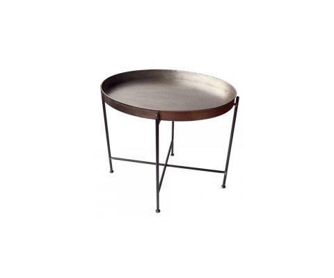 Table d'appoint ronde métal effet vieilli JANETE - Red Cartel