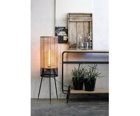 Lampe à poser rotin et métal-TOINOU
