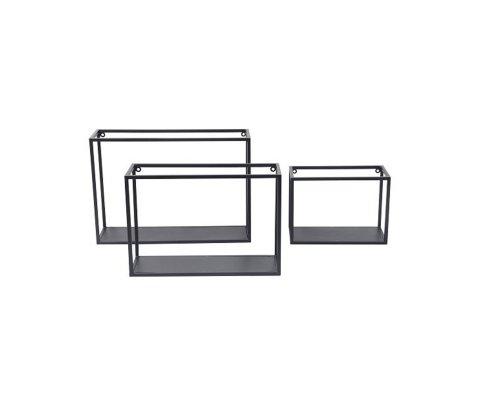 Set de 3 étagères murales forme cube métal ANDRIA - Red Cartel