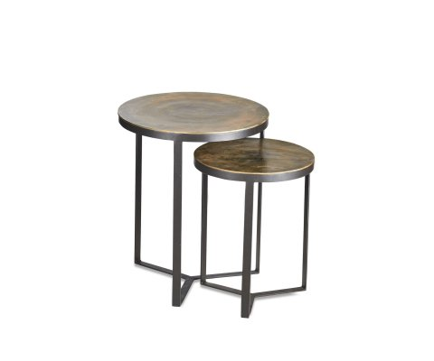 Lot de 2 tables gigognes métal antique ANTIKA
