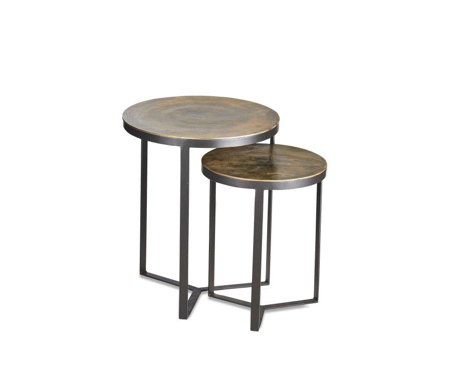 Lot de 2 tables gigognes métal antique - ANTIKA
